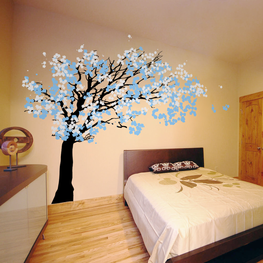 cherry blossom tree blowing in the wind wall decal sticker graphic. Black Bedroom Furniture Sets. Home Design Ideas