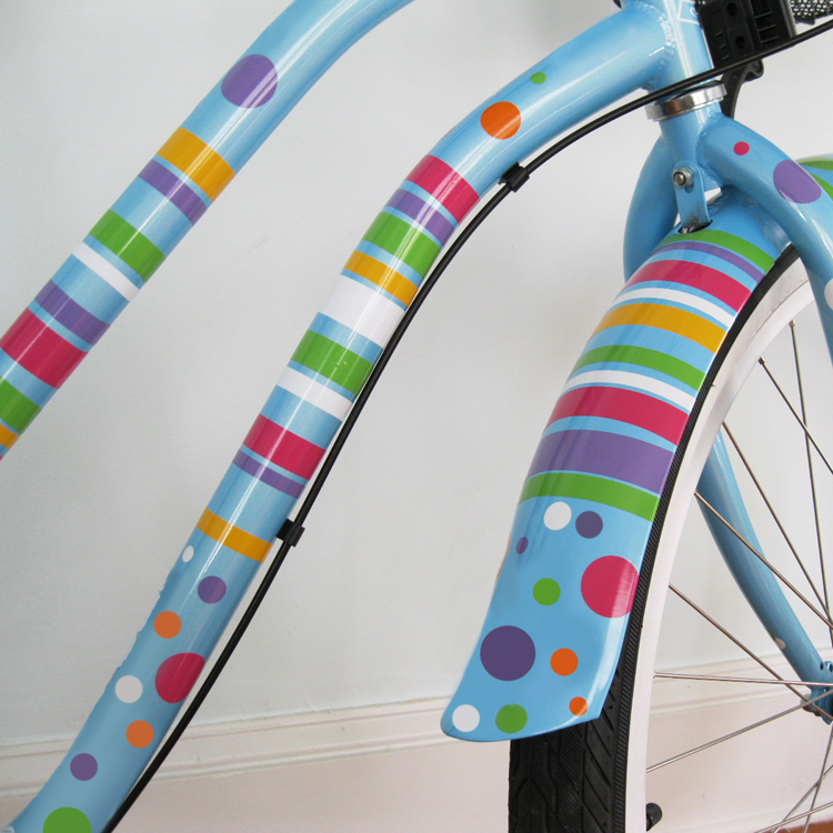 Polka Dots Stripes Bike Bicycle Beach Cruiser Decals Stickers - Custom vinyl decals for bicycles