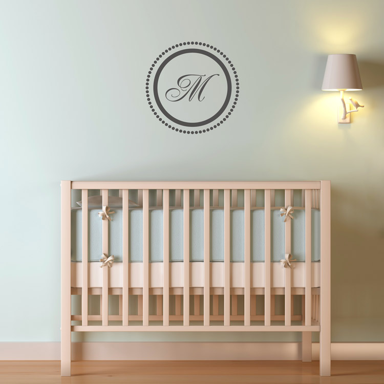Elegant Circle with Dots Monogram Wall Decal Sticker Graphic