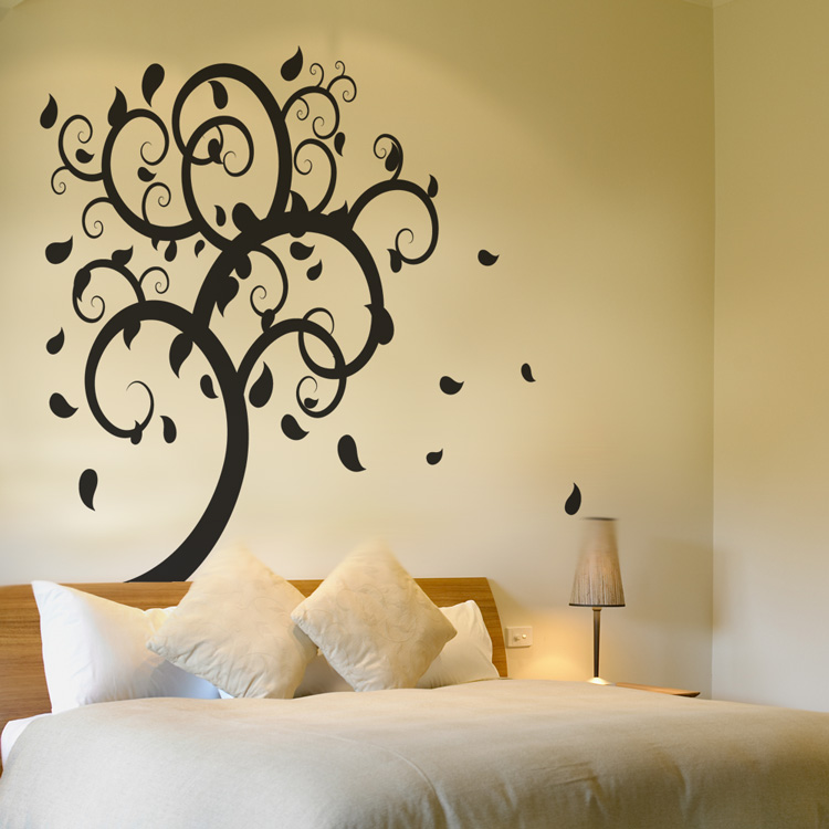 Swirling Tree Leaves Falling - Giant Vinyl Wall Decals