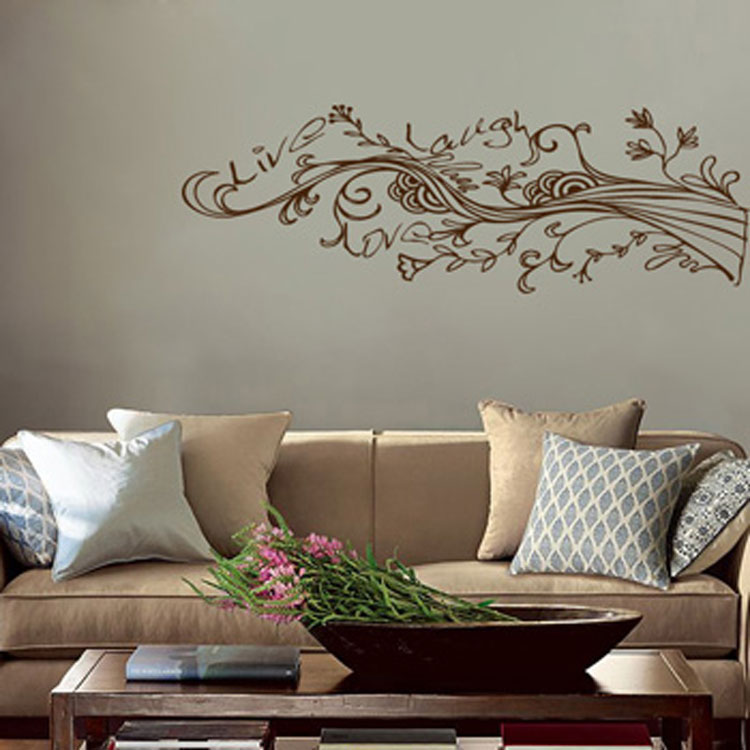 Live Laugh Love - Swirling Wispy Tree Branch with Flowers Wall Decal Sticker Graphic & Live Laugh Love - Swirling Wispy Tree Branch with Flowers Wall Decal ...