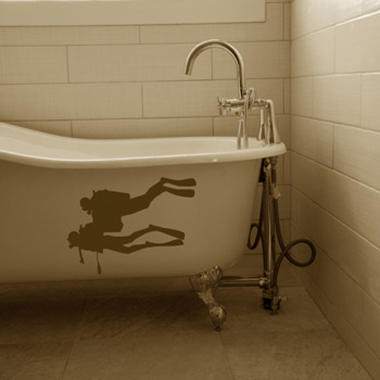Divers Going Deep - Toilet - Bathtub - Shower Wall Decal Sticker Graphic