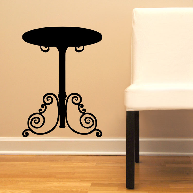 End table black vinyl wall decal graphic