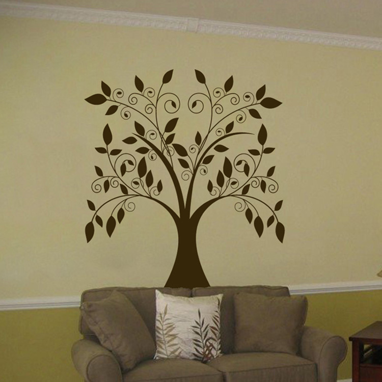 & Large Swirling Tree Falling Leaves - Vinyl Wall Decal