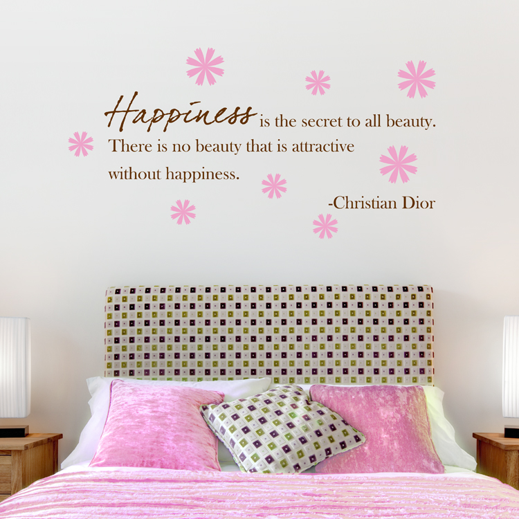 Happiness Is The Secret To All Beauty Quote Wall Decals Stickers Graphics
