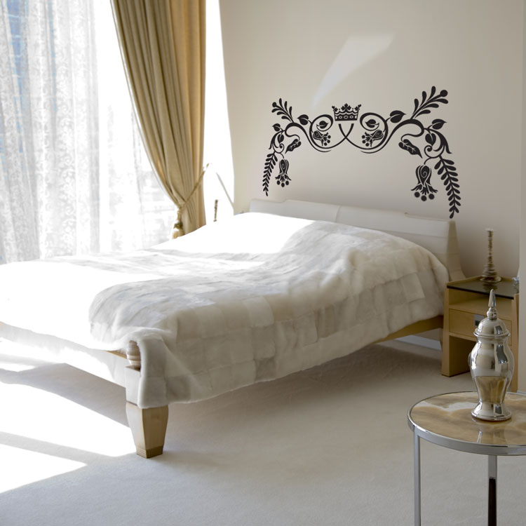 Royal ornate headboard wall decal sticker graphic for Mural headboard