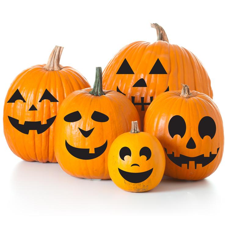 o lantern decals set of 6 faces pumpkin stickers