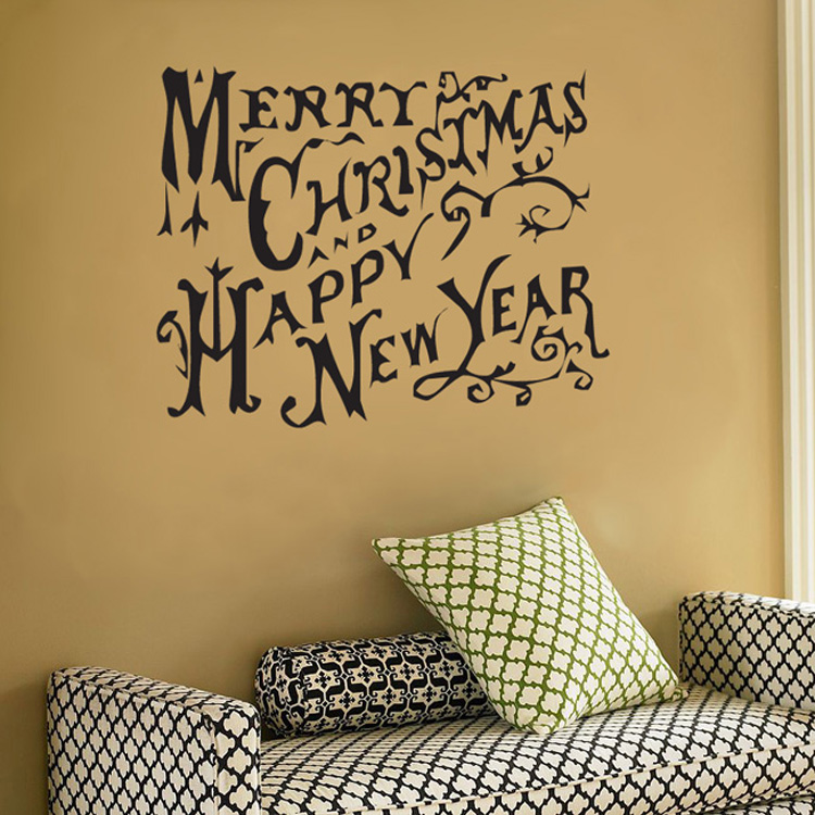 Merry Christmas And Happy New Year Wall Decal Sticker Graphic