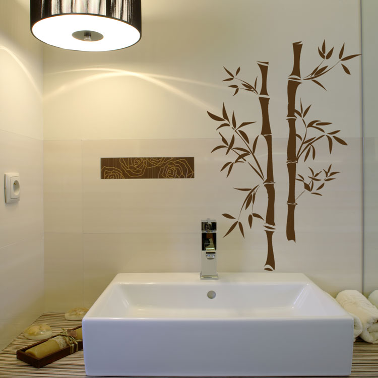 Asian bamboo vinyl wall decals for Bathroom wall mural