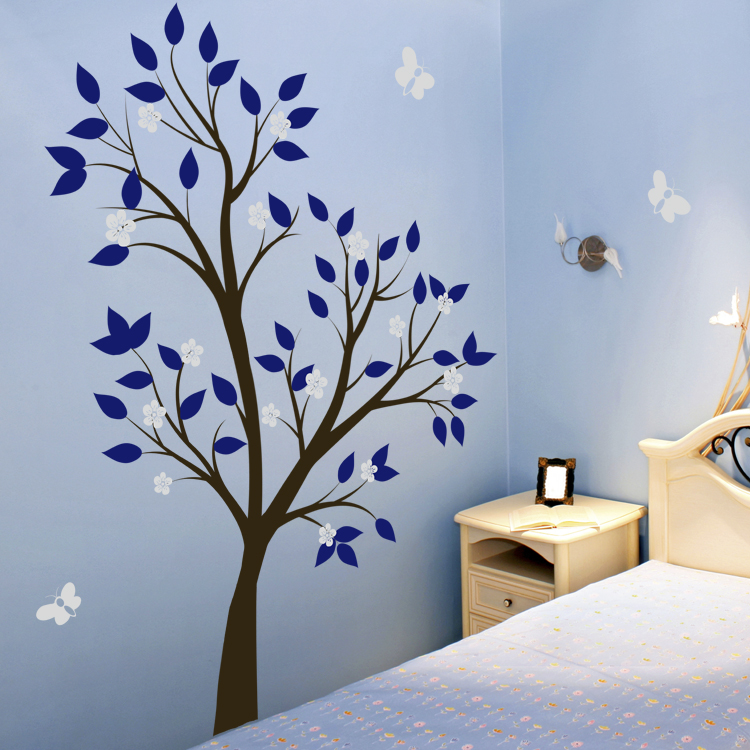 Tall Tree Waving With Blossoms And Butterflies Wall Decals - How to put up a tree wall decal