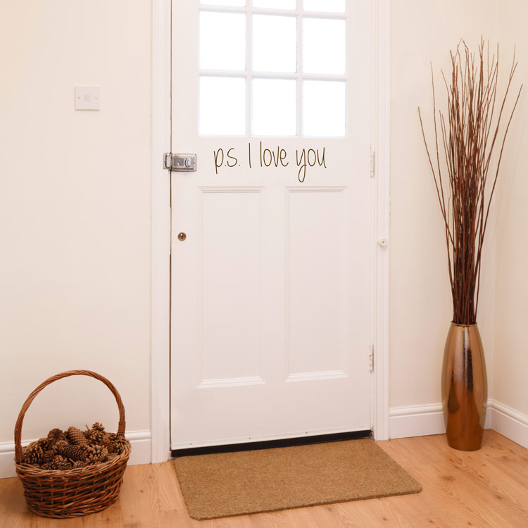 ps i love you - door - entryway - foyer - quote wall decals stickers