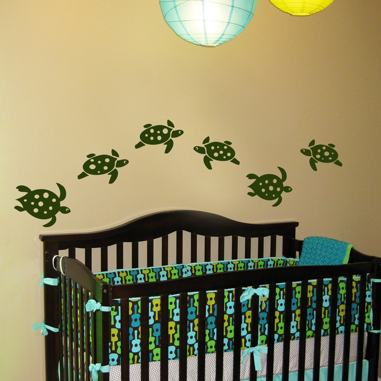 underwater sea turtles set of six wall decals. Black Bedroom Furniture Sets. Home Design Ideas