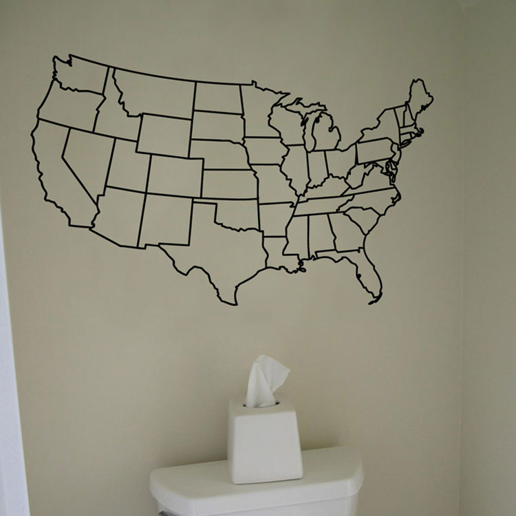 US United States Map Wall Decal Vinyl Sticker Graphic - Us map wall decal