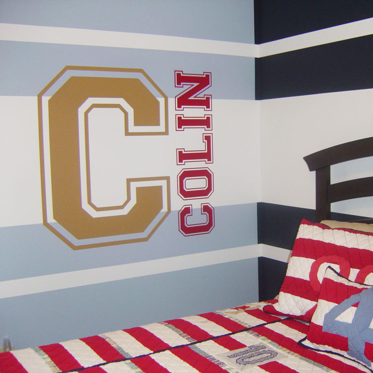 Varsity letter and name custom monograms wall decals for Custom wall letter stickers