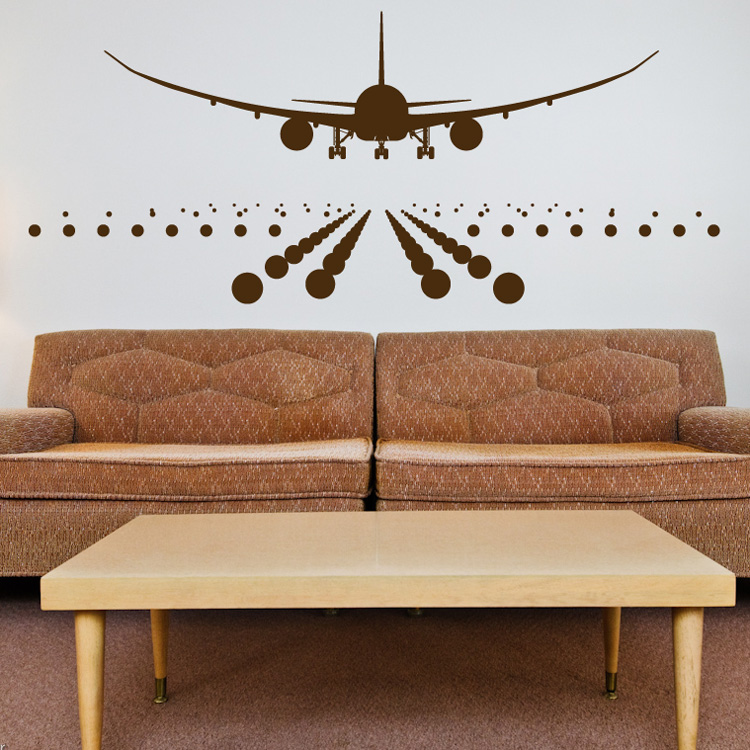 Airplane landing on the runway wall decals for Airplane wall mural