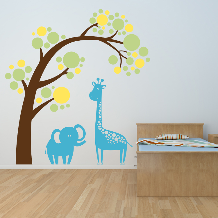 Animals Under A Leaning Tree Wall Decals Stickers Graphics - Wall decals animals