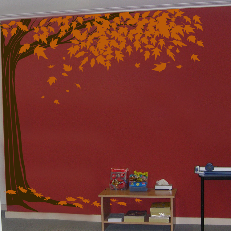 Shady Corner Tree With Leaves Falling Wall Decals - How to put up a tree wall decal