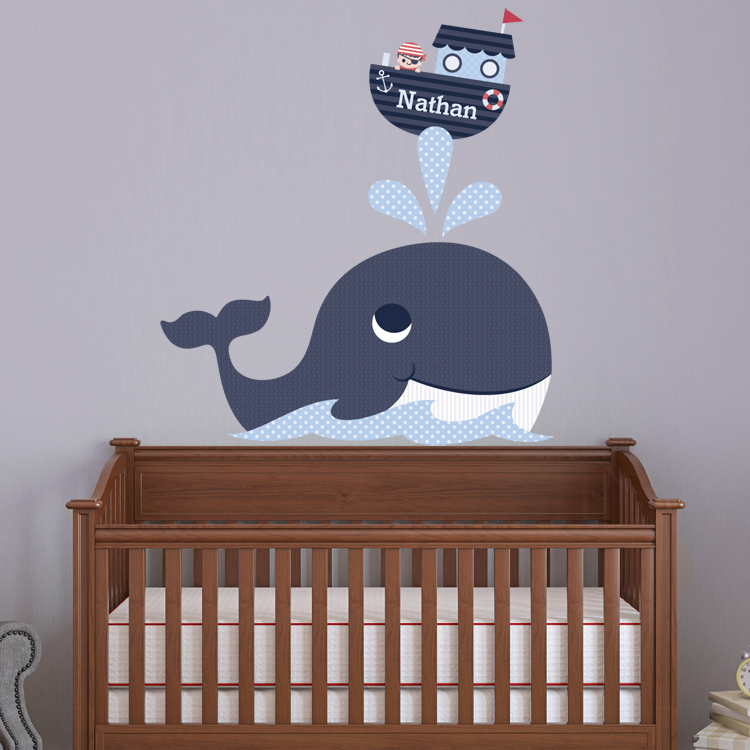 whale boy pirate personalized monogram printed wall decals