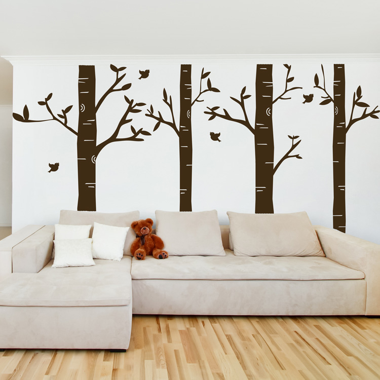 sc 1 st  Dali Decals & Birch Tree Forest - Set of 4 - Wall Decals