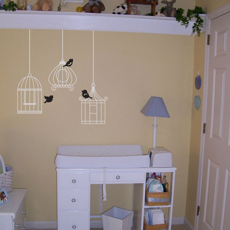Three Little Birdies Set Of Three Birdcages Birdcage Decals - How to put a decal on my wall
