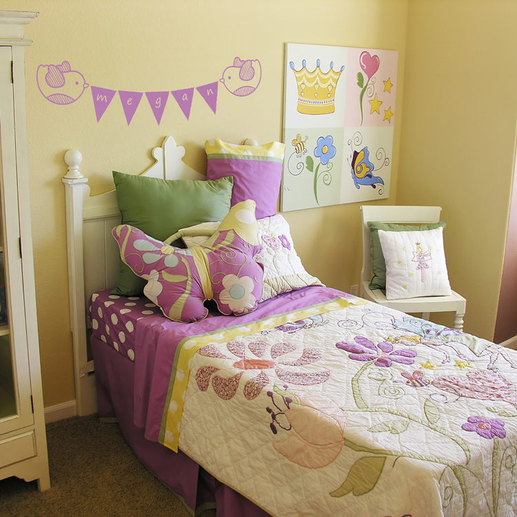 Yellow Kids Room: Cute Birds With Pennants