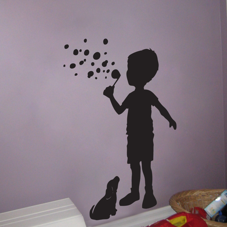 Wall Tattoo Kids : Little Boy blowing Bubbles with his puppy - Wall Decals