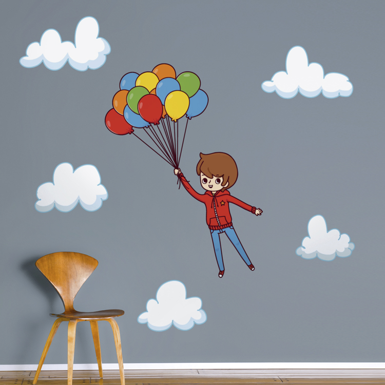 Boy Flying Away With Balloons Printed Wall Decals Stickers Graphics