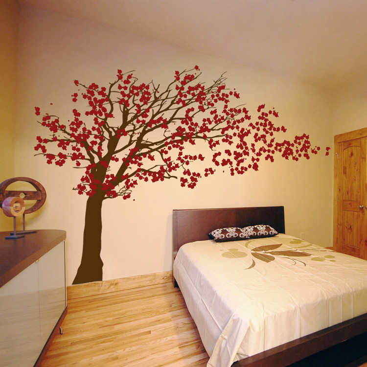 Cherry blossom tree blowing in the wind wall decal for Cherry blossom tree wall mural