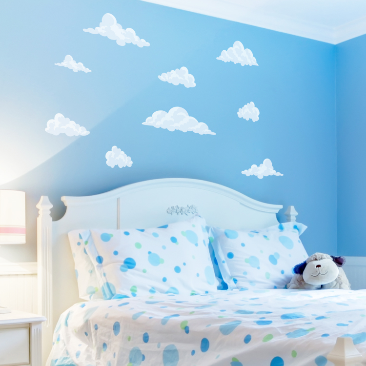 Peaceful Clouds In The Sky   Set Of 12   Printed Wall Decals Stickers  Graphics