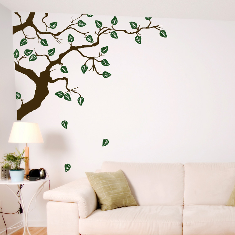 Hidden Corner Branch With Falling Leaves Wall Decals - Wall decals leaves
