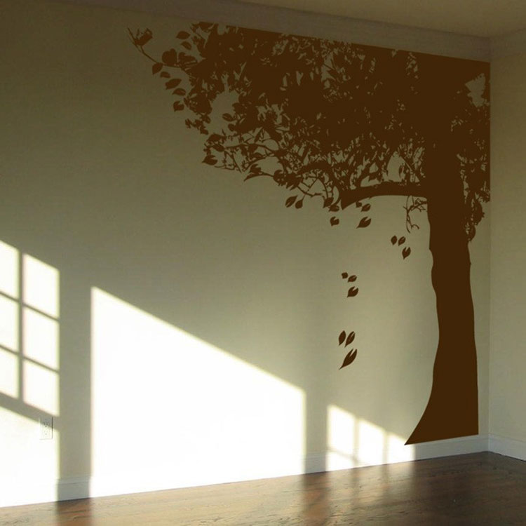 Charming Giant Corner Tree With Leaves   Made For The Corner   Wall Decals