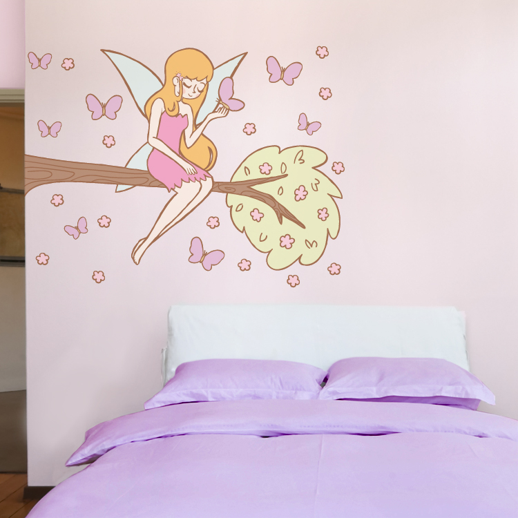 Fairy On A Branch With Butterflies   Printed Wall Decals Stickers Graphics