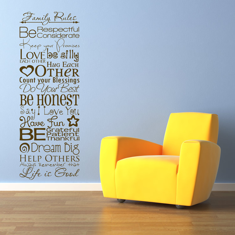 Family Rules Quote Sayings Wall Decals Stickers Graphics - Wall decals cars
