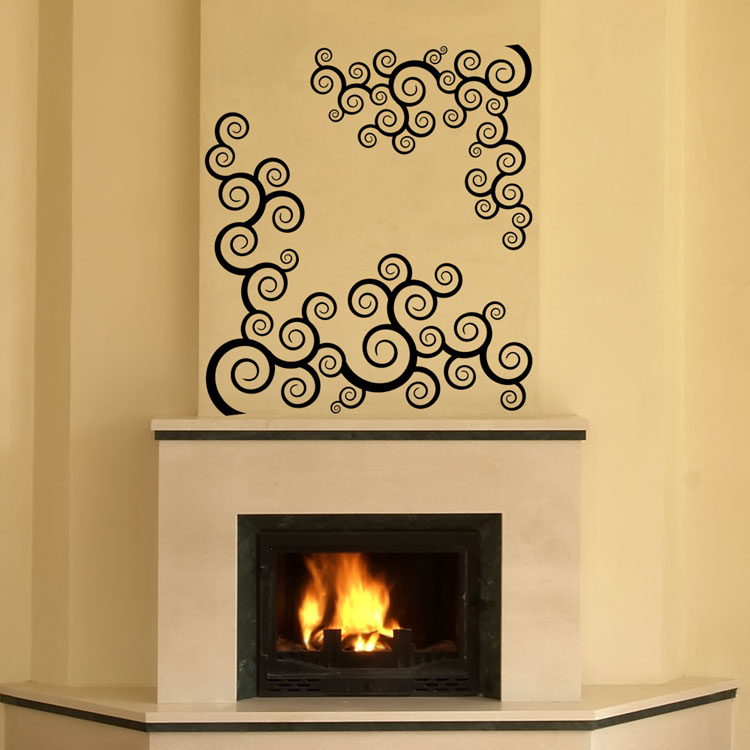 Swirls over Fireplace- Custom Wall Vinyl Decals
