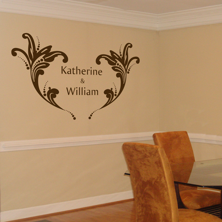 Personalized Wedding Monogram With Flourishes Wall Decal Sticker - Monogram wall decals wood