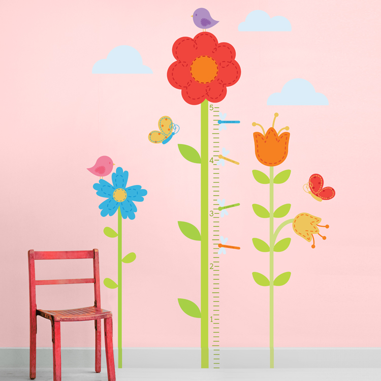 Tall Flower Garden Growth Chart Printed Wall Decals Stickers Graphics