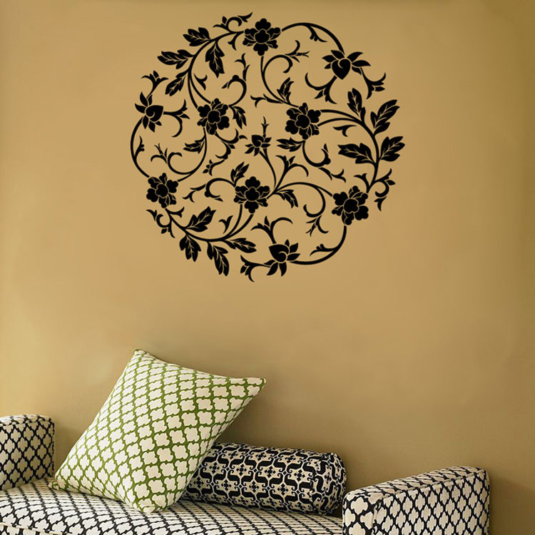 circular flowers wall vinyl decal