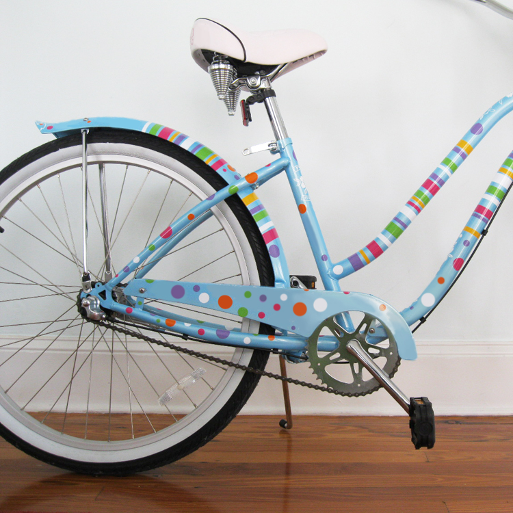 Polka dots stripes bike bicycle beach cruiser decals stickers graphics