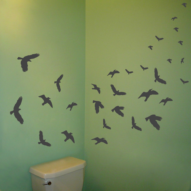 Flying birds set of 30 wall decal sticker graphic