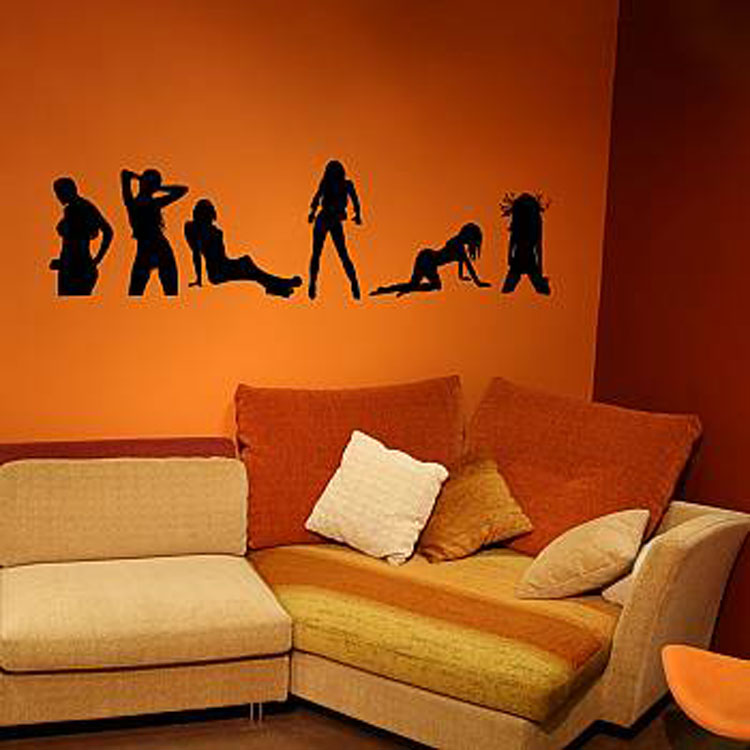 Girls multiple positions vinyl wall decal Texture paint for living room