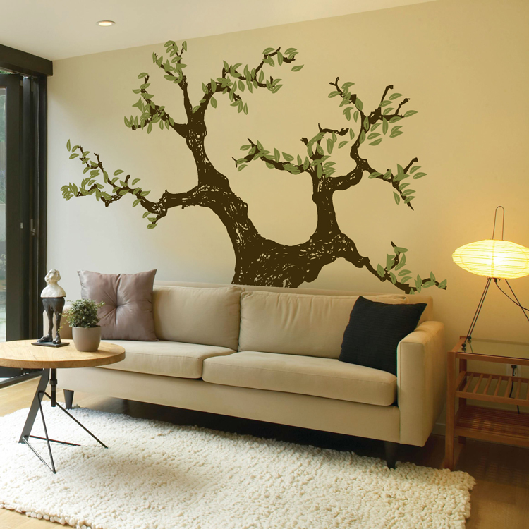 Gnarled knotted tree with leaves wall decals for Como decorar la sala de mi casa