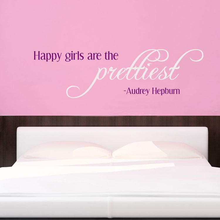 happy girls are the prettiest - audrey hepburn - wall decals