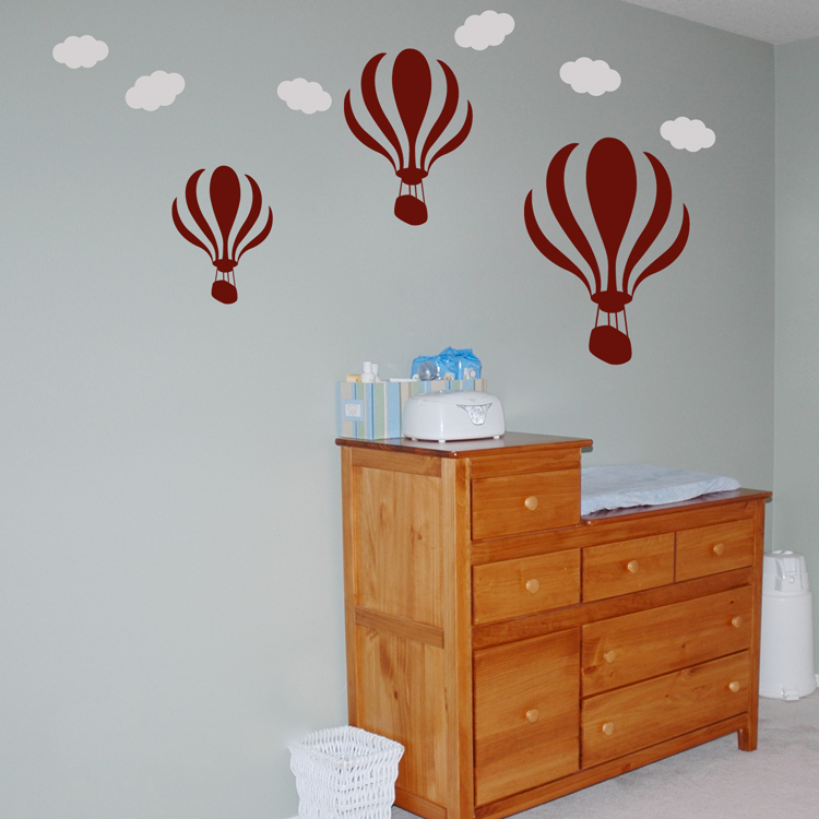 Hot Air Balloons with Clouds - Set of 3 - Wall Decals