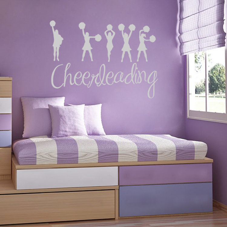 I Love Cheerleading Sports Wall Decals