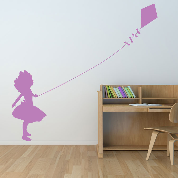 little girl flying a kite - wall decals stickers graphics