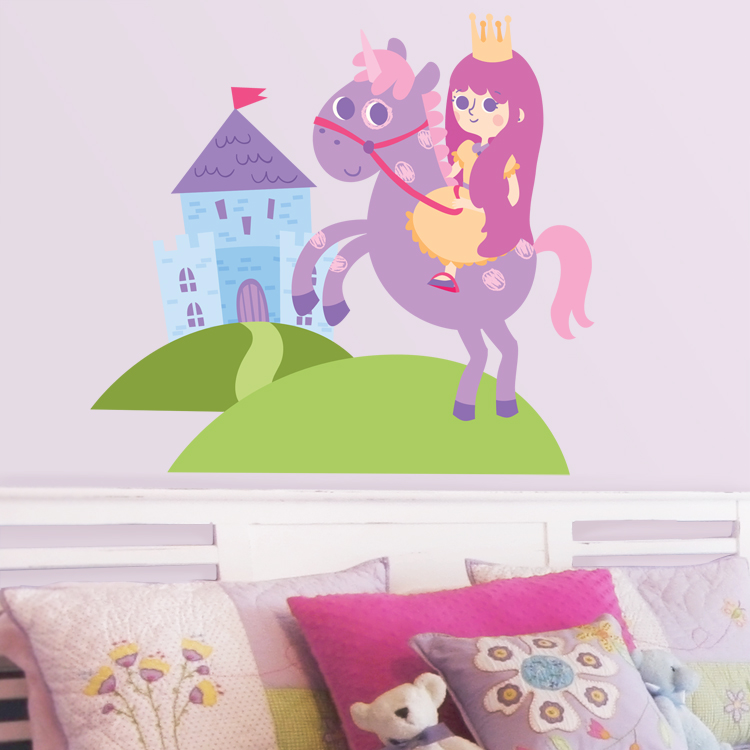 little princess castle unicorn printed wall decals stickers