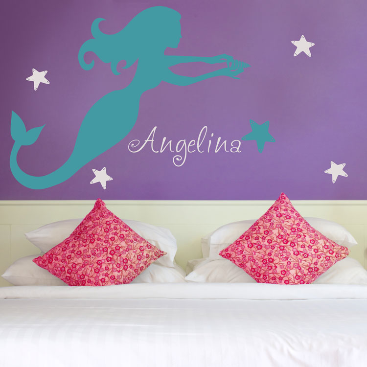 Mermaid Holding A Sea Shell   Personalized Monograms U0026 Names   Wall Decals