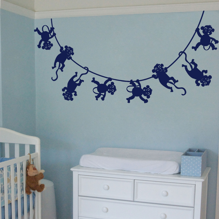 lots of monkeys swinging wall decals. Black Bedroom Furniture Sets. Home Design Ideas