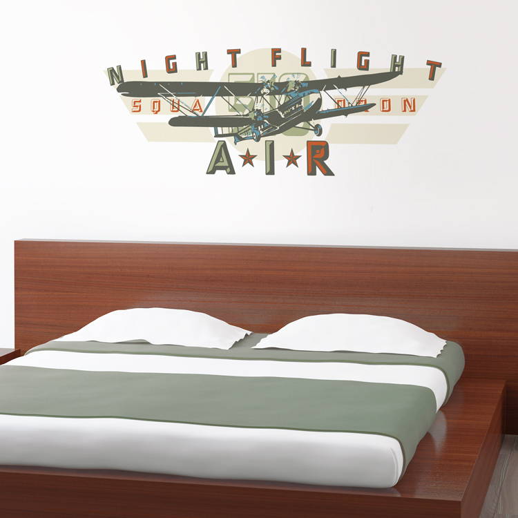 night flight squadron vintage airplane printed wall decals