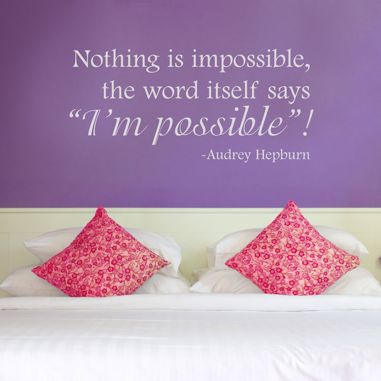 Nothing Is Impossible Audrey Hepburn Wall Decals Stickers Graphics
